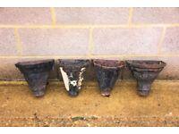 4x metal guttering rainwater downpipe hoppers