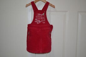 DKNY Girl's Red Cord Pinafore Dress - Age 3 Years Excellent Condition