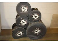 Protection Racket NUTCASE Drum Kit Cases for 10in + 12in + 14in Toms + 22in Bass + 14in Snare