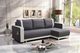 New Corner Sofa Bed CARLOS Grey+White UNIVERSAL CORNER SIDE- FREE DELIVERY