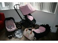 Girls Bugaboo Cam 3 pram travel system 3 in 1 black and Soft Pink CAN POST