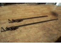 "TWO VINTAGE SASH CLAMPS, 48"", & 72"""