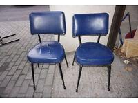 Stylish Retro Blue Vinyl Chairs FREE DELIVERY CENTRAL EDINBURGH