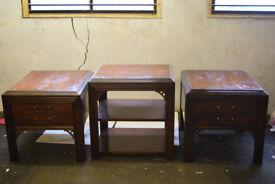 Mahogany effect 2 drawer side tables and a mahogany effect three tier side table