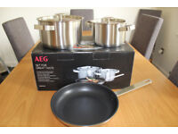 Aeg 3 piece stainless steel pan set, suitable for any kind of hob