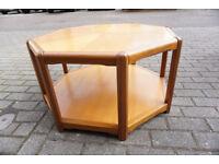 Stunning Danish Teak Octagonal Coffee Table Sunburst Top by Halshop - FREE DELIVERY CENTRAL