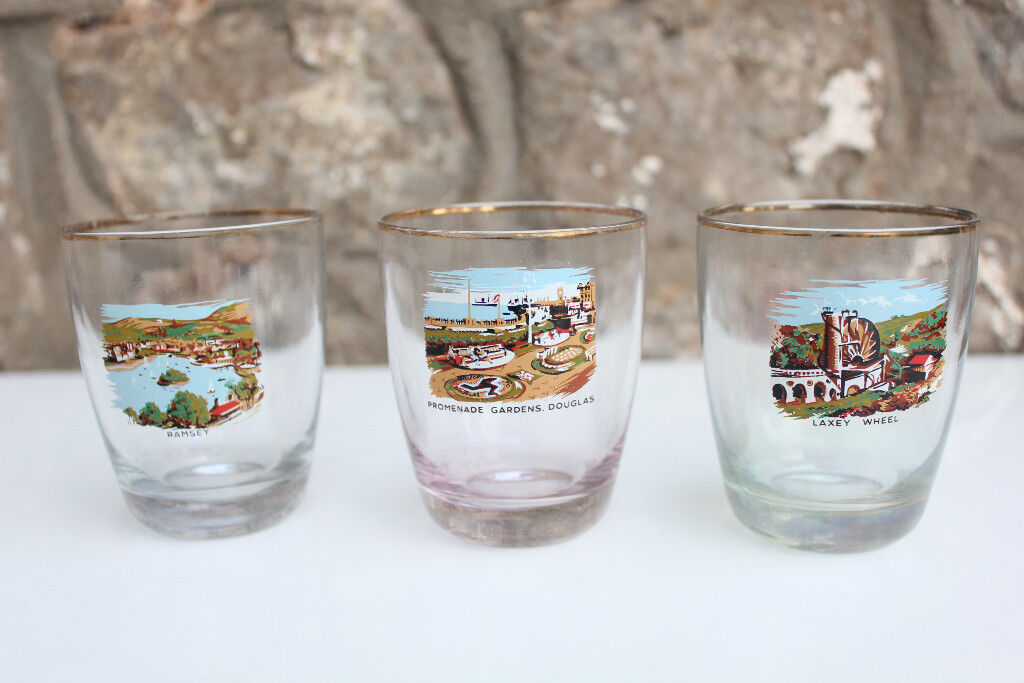 Set 3 1950's Isle of Mann Souvenir Tumbler Glasses Seaside Shot Glass