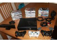 £80 XBOX 360 SLIM + 30 GAMES 3 CONTROLLERS + kinect 100% WORKING PICK UP CHATHAM
