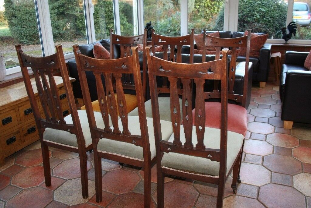 Set of 6 Mahogany upholstered dining chairs