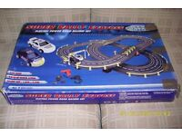 Electric Scalextric-style Porche Racing Car Track. Working lights, jump, trigger controllers etc.