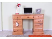 QUALITY SOLID PINE DESK WITH 9 DRAWERS ALL TONGUE GROOVE - CAN COURIER