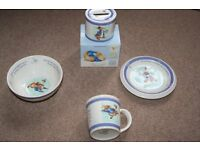 Peter Rabbit feeding set -bowl, plate and mug with boxed money box by Wedgewood