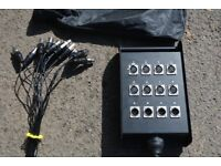 10mtr 8 send 4 return XLR Snake with wall mountable box