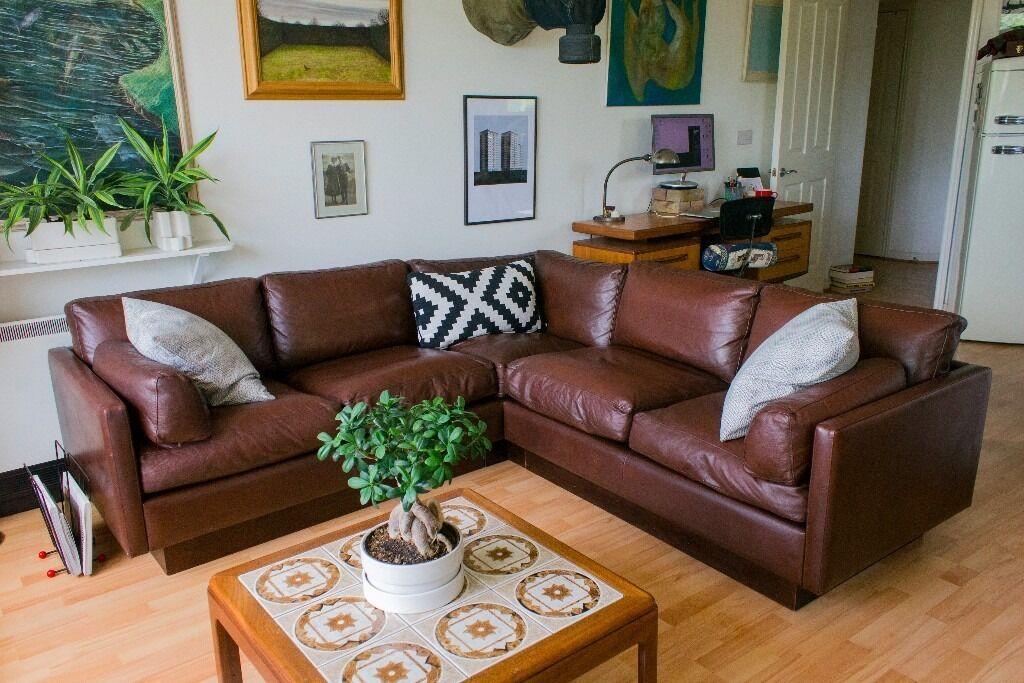 Beautiful Vintage Mid Century Modern Danish Real Leather Corner Sofa