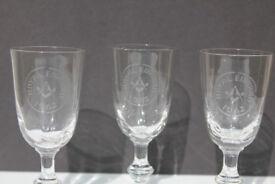 3 Original Vintage Masonic Liqueur Glass Freemasons Royal Edward Lodge Avonmouth 1962 Shot Glasses