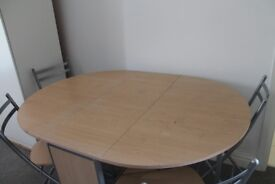 Foldable wooden table with 4 chairs