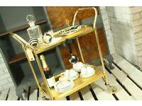 Gorgeous gold 2 tier bar cart/hostess trolley