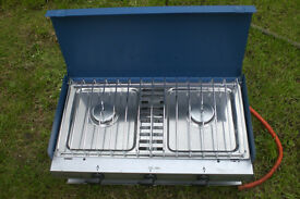 Camping gaz Chef 2 burner cooker and grill with carry case and gas.