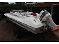 """14'6"""" Mustang Speed boat, 60hp Outboard & Snipe Trailer"""