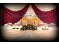 Table Cloth Hire £9 Starlight Backdrop Rental £199 Wedding Head Table Styling Chair Cover Rental 79p
