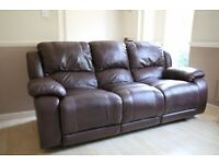 3-Seater Brown Leather Reclining Sofa
