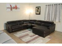 Ex-display Elixir dark brown leather electric recliner corner sofa with chaise lounge