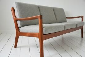 Mid Century, Danish, Retro, Vintage three seater sofa by Ole Wanscher