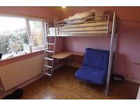High level metal cabin bed with desk and pull out futon/bed
