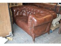 Small Two Seater Brown Leather Chesterfield