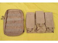 TWO Used TAN Military Webbing Pouches - (B) - Molle / Blackhawk
