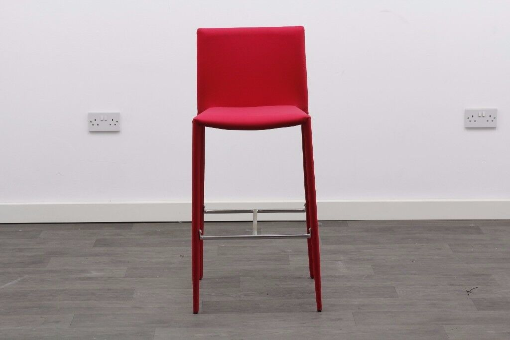 Red Upholstered Bar Stool - High Chair
