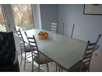 OFFER - Dining Table, Glass & Steel, with Chairs, Designer Niels Gammelgaard