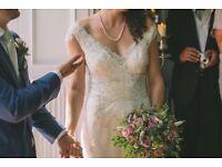 Stunning beaded lace size 10 wedding dress by Annasul Y (AY2497B)