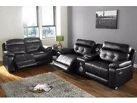 MANHATTAN ISOFA THICK LEATHER 3+2 RECLINER SUITE WITH DOCKING STATION RRP £1300