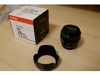 Canon 28mm f1.8 USM lens + hood – MINT condition!