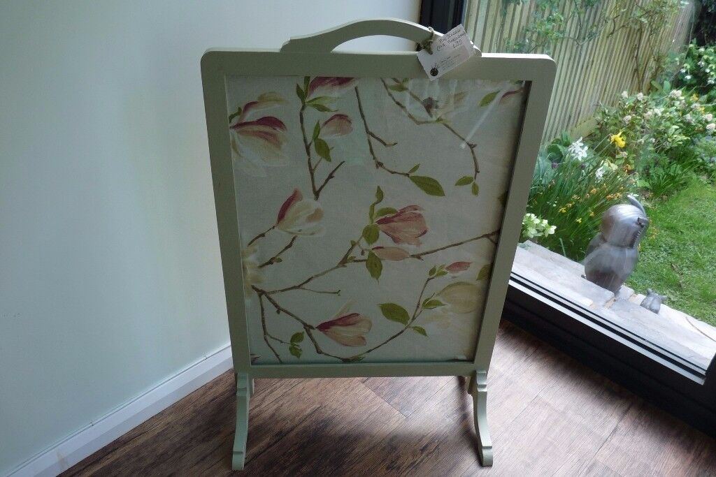 Pretty Upcycled Vintage Fire Screen, painted in Farrow & Ball French Gray