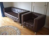 Contemporary Leather Sofa and Armchair 2 piece suite