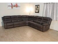 Brown leather manual recliner large corner sofa