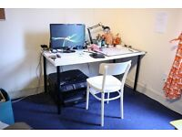 Large White Desk and Chair