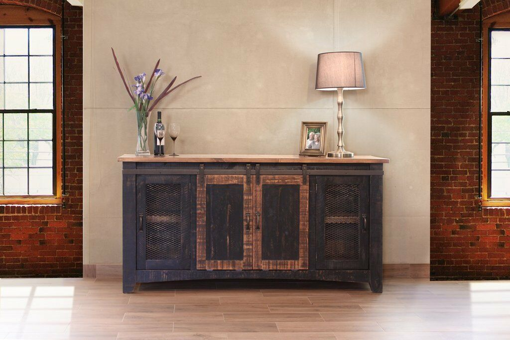 Greenview Sliding Door Distressed Black TV Stand - 70 inch