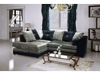 BRAND NEW CRUSHED VELVET CORNER SOFA BLACK/SILVER NEXT DAY DELIVERY1 6395DUACAUBA