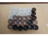 36 TEA CANDLE HOLDERS, white, grey or black.