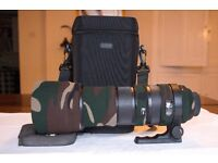 Sigma 150-500mm f5-6.3 APO DG OS HSM Nikon fit zoom lens with camouflage lens cover