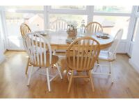 Natural Solid Wood Dining Table Set Extendable Table with 8 Chairs * May Deliver