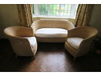 3 piece Wicker conservatory set; Sofa and 2 single chairs