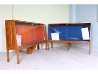 2 LARGE 6 FT VINTAGE DISPLAY CABINETS GLASS SLIDING DOORS - UK WIDE DELIVERY