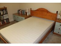 Solid wood bed and bedroom furniture.
