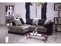 BRAND NEW SOFAS ON SALE== NEW DOUBLE PADDED == DYLAN CRUSHED VELVET CORNER SOFA OR 3 AND 2 SOFA