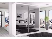 Chicago 2 Door Sliding Mirror Wardrobe -- Cheapest Price -- Same Day Delivery- White Black Oak Wenge