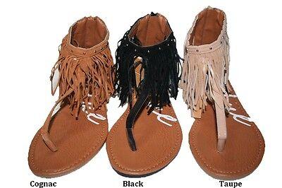 HANGING FRINGE THONG SANDALS  BLACK  COGNAC TAUPE 6 7 8 9 10 - Fringe Thong Sandals